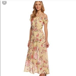 Billabong Pale Yellow With Pink Floral Maxi Dress
